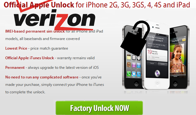 Unlock iphone 4s verizon