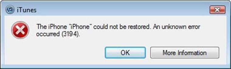 Khắc phục iPhone 4/4s Restore bị lỗi 3194 bằng phần mềm đơn giản