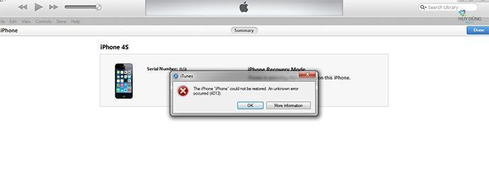 Khắc phục iPhone 5/5s Restore lỗi 4005, 4013, lỗi -1, 9, lỗi 14, lỗi 47, lỗi 48 thành công