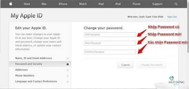 Hướng thay dẫn đổi mật khẩu tài khoản iCloud - Password ID Apple