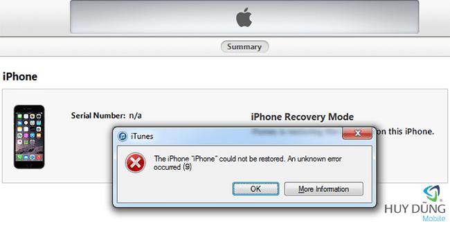 Chuyên sửa iPhone iPad Restore lỗi 9 - Fix error occured (9) uy tín tại HCM