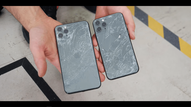 Mặt lưng của iPhone 11 Pro và iPhone 11 Pro Max đều vỡ nát /// Ảnh: 9to5mac